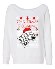 Christmas Is Coming Direwolf Women's Sweatshirt GoT Parody Ugly Sweatshirt