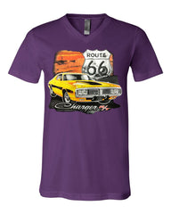 Dodge Charger R/T V-Neck T-Shirt Route 66 USA Muscle Car