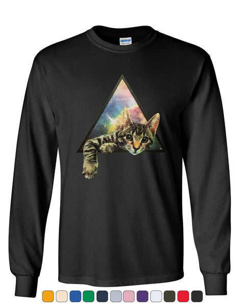 Galaxy Cat Long Sleeve T-Shirt Cute Kitten Pet Universe Tee