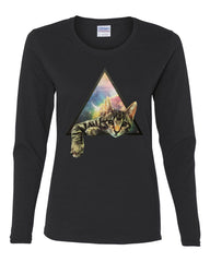 Galaxy Cat Women's Long Sleeve T-Shirt Cute Kitten Pet Universe