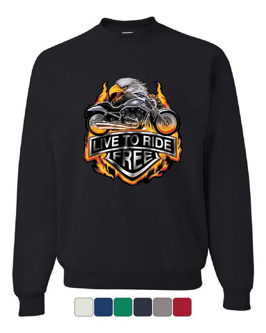 Live to Ride Sweatshirt Flaming Eagle & Bike Biker MC Sweater
