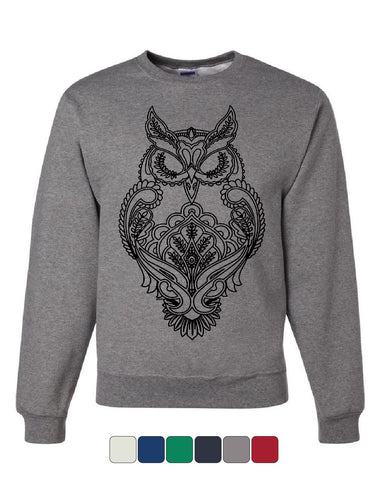 Black Owl Henna Style Sweatshirt Wildlife Nature Knowledge Wisdom Sweater