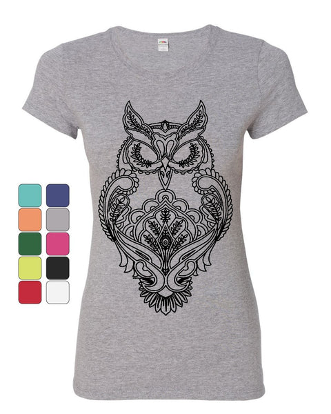 Black Owl Henna Style Women's T-Shirt Wildlife Nature Knowledge Wisdom Shirt