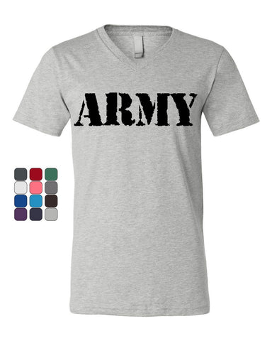 ARMY V-Neck T-Shirt Military Veteran POW MIA Patriotic Veteran's Day Tee