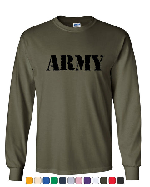 ARMY Long Sleeve T-Shirt Military Veteran POW MIA Patriotic Veteran's Day Tee