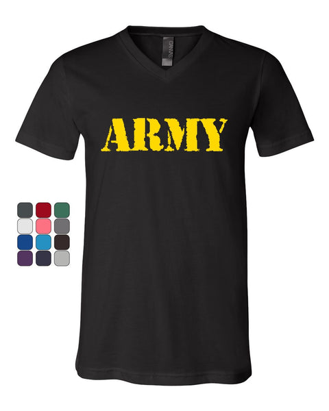 ARMY V-Neck T-Shirt Military Soldier POW MIA Patriotic Veteran's Day Tee