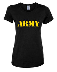ARMY Women's T-Shirt Military Soldier POW MIA Patriotic Veteran's Day Tee