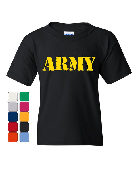 ARMY Youth T-Shirt Military Soldier POW MIA Patriotic Veteran's Day Kids Tee