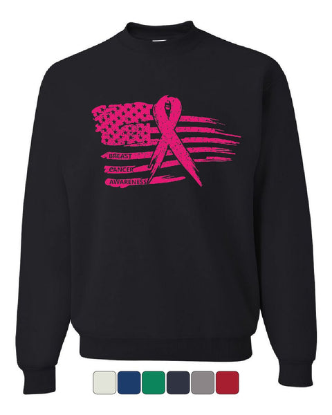 Pink Ribbon Flag Sweatshirt Breast Cancer Awareness Hope Survivor Sweater