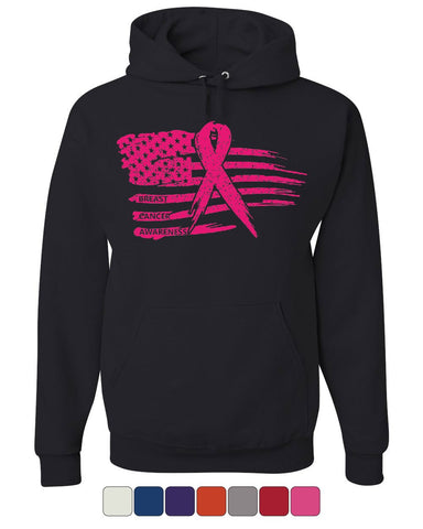 Pink Ribbon Flag Hoodie Breast Cancer Awareness Hope Survivor Sweatshirt