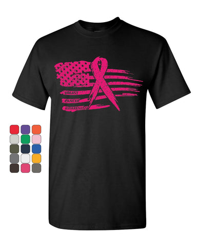 Pink Ribbon Flag T-Shirt Breast Cancer Awareness Hope Survivor Mens Tee Shirt