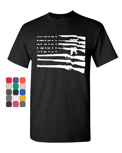 American Flag Guns 2nd Amendment T-Shirt Gun Rights Cotton Tee