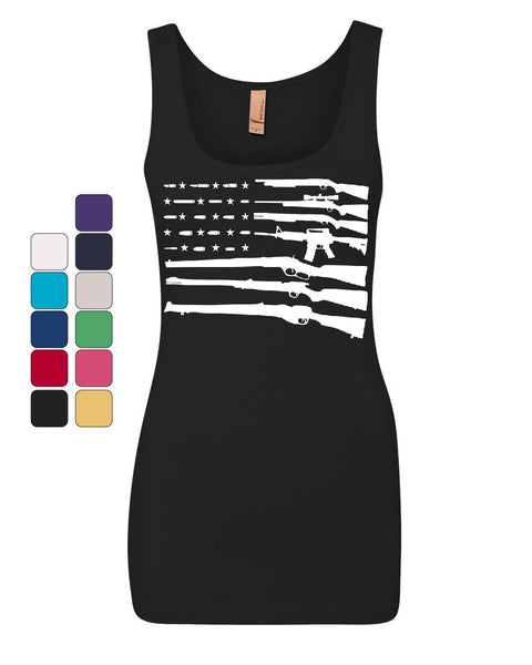 American Flag Guns 2nd Amendment Women's Tank Top Gun Rights Top