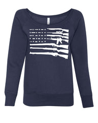 American Flag Guns 2nd Amendment Women's Sweatshirt Gun Rights