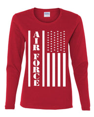 Air Force Flag Military Women's Long Sleeve Tee Patriot Veteran Stars & Stripes