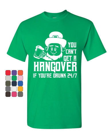 You Can't Get a Hangover T-Shirt Irish Leprechaun Drinking Beer Mens Tee Shirt