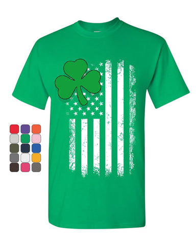 Shamrock Flag Stars and Stripes T-Shirt Irish St. Patrick's Day Mens Tee Shirt