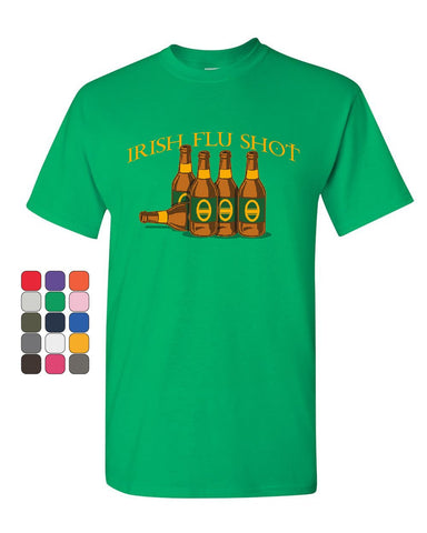Irish Flu Shot Funny T-Shirt St Patrick's Day Pubs Drinking Beer Mens Tee Shirt