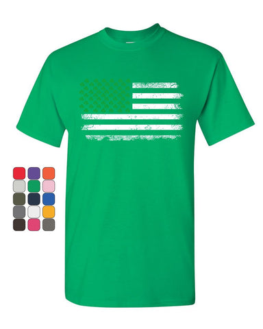 Shamrock American Flag T-Shirt Stars and Stripes St. Patrick's Mens Tee Shirt