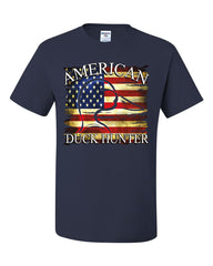 American Duck Hunter T-Shirt Waterfowl Hunting American Flag Tee Shirt