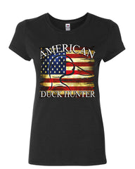 American Duck Hunter Women's T-Shirt Waterfowl Hunting American Flag Shirt
