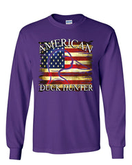American Duck Hunter Long Sleeve T-Shirt Waterfowl Hunting American Flag Tee