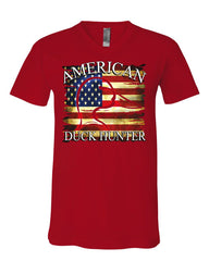 American Duck Hunter V-Neck T-Shirt Waterfowl Hunting American Flag Tee