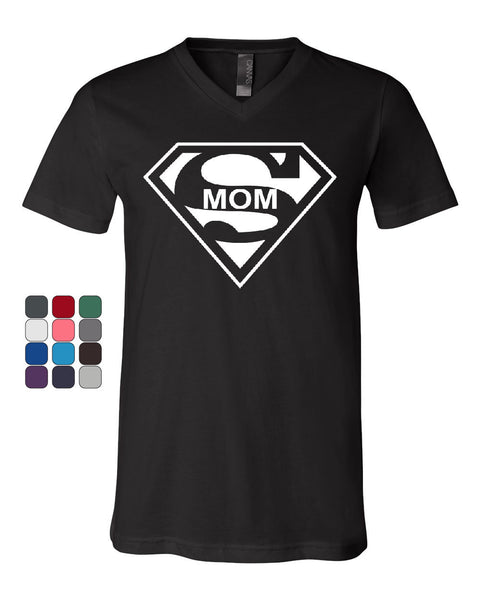 Super Mom Funny V-Neck T-Shirt Superhero Parody Mother's Day Tee - Tee Hunt - 1