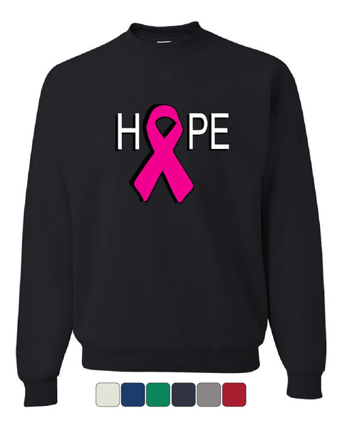 HOPE Breast Cancer Awareness Pink Ribbon Crew Neck Sweatshirt - Tee Hunt - 1