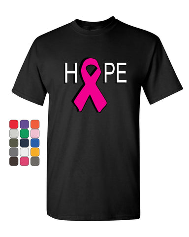 HOPE Breast Cancer Awareness Pink Ribbon T-Shirt  Tee Shirt - Tee Hunt - 1