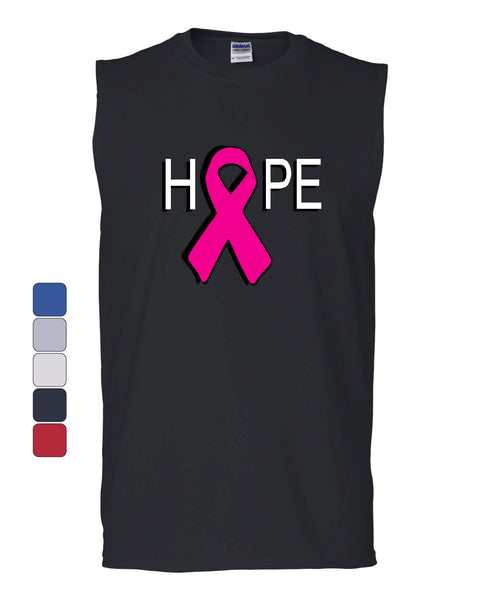 HOPE Breast Cancer Awareness Pink Ribbon Muscle Shirt - Tee Hunt - 1
