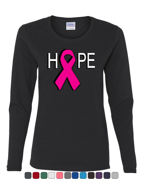 HOPE Breast Cancer Awareness Pink Ribbon Long Sleeve T-Shirt - Tee Hunt - 1