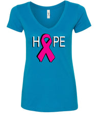 HOPE Breast Cancer Awareness Pink Ribbon V-Neck T-Shirt - Tee Hunt - 5