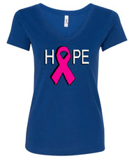 HOPE Breast Cancer Awareness Pink Ribbon V-Neck T-Shirt - Tee Hunt - 4
