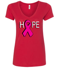 HOPE Breast Cancer Awareness Pink Ribbon V-Neck T-Shirt - Tee Hunt - 3