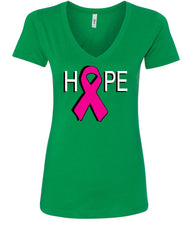 HOPE Breast Cancer Awareness Pink Ribbon V-Neck T-Shirt - Tee Hunt - 10