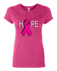 HOPE Breast Cancer Awareness Pink Ribbon Cotton T-Shirt - Tee Hunt - 6