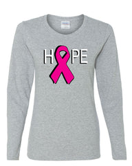 HOPE Breast Cancer Awareness Pink Ribbon Long Sleeve T-Shirt - Tee Hunt - 4