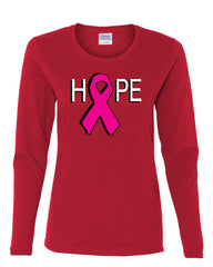 HOPE Breast Cancer Awareness Pink Ribbon Long Sleeve T-Shirt - Tee Hunt - 6