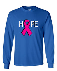HOPE Breast Cancer Awareness Pink Ribbon Long Sleeve T-Shirt - Tee Hunt - 5