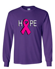 HOPE Breast Cancer Awareness Pink Ribbon Long Sleeve T-Shirt - Tee Hunt - 7