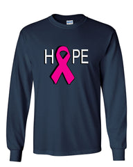 HOPE Breast Cancer Awareness Pink Ribbon Long Sleeve T-Shirt - Tee Hunt - 8