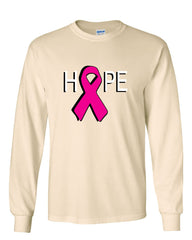 HOPE Breast Cancer Awareness Pink Ribbon Long Sleeve T-Shirt - Tee Hunt - 9