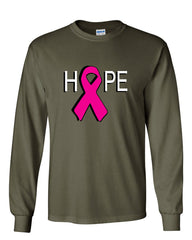 HOPE Breast Cancer Awareness Pink Ribbon Long Sleeve T-Shirt - Tee Hunt - 10