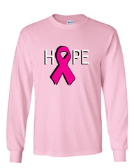 HOPE Breast Cancer Awareness Pink Ribbon Long Sleeve T-Shirt - Tee Hunt - 11