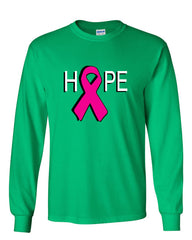 HOPE Breast Cancer Awareness Pink Ribbon Long Sleeve T-Shirt - Tee Hunt - 12