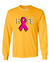 HOPE Breast Cancer Awareness Pink Ribbon Long Sleeve T-Shirt - Tee Hunt - 13
