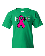 HOPE Breast Cancer Awareness Pink Ribbon Youth T-Shirt  Tee - Tee Hunt - 7