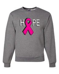 HOPE Breast Cancer Awareness Pink Ribbon Crew Neck Sweatshirt - Tee Hunt - 6