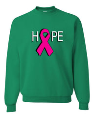 HOPE Breast Cancer Awareness Pink Ribbon Crew Neck Sweatshirt - Tee Hunt - 3